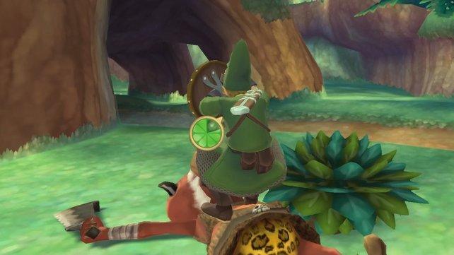 So sieht es aus, wenn Link den Fangstoß erfolgreich einsetzt.