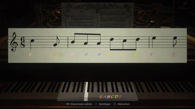 In dieser Reihenfolge müsst ihr die Noten am Klavier nachspielen.