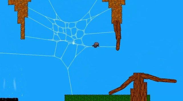 Die Spinne kann krabbeln, Netze schießen und sich mit ihnen umherschwingen.
