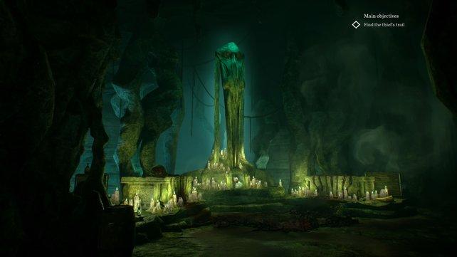 Manche Dinge wollt ihr vielleicht gar nicht finden. So wie diese Kultstätte in einem dunklen Höhlengewölbe.