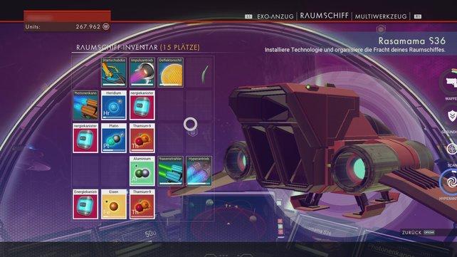 Ihr verfügt über zweierlei Inventare am Raumanzug und im Schiff. Dennoch stoßt ihr ständig an die Grenzen der Kapazität.