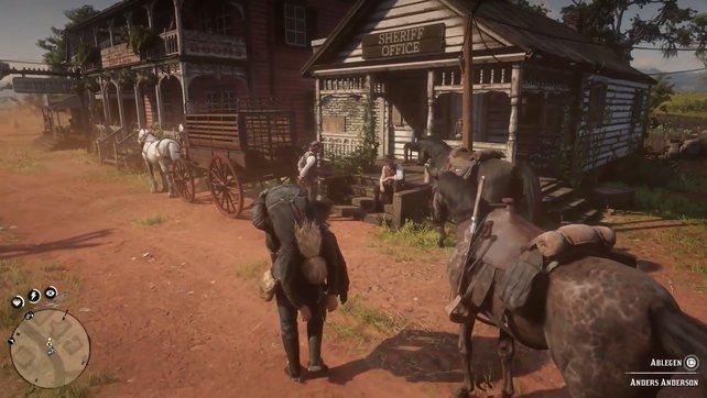 In Rhodes angekommen, hebt Anderson von eurem Pferd herunter und legt ihn vor dem Sheriff-Büro ab.