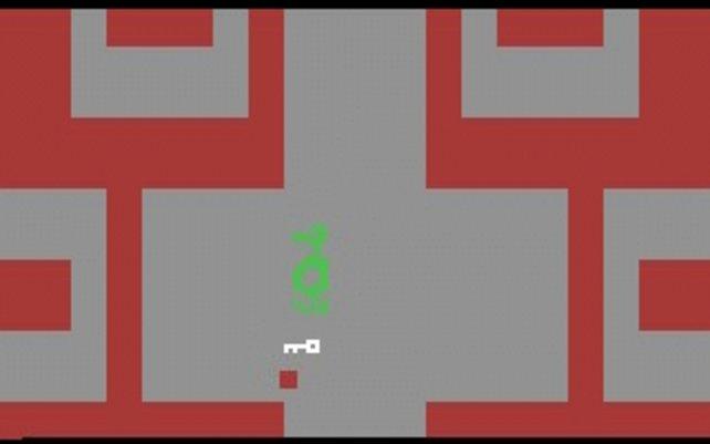 Dieser grüne Kreis mit dem stilisierten Armen ist euer bewaffneter Ritter - die Spielfigur in Adventure.