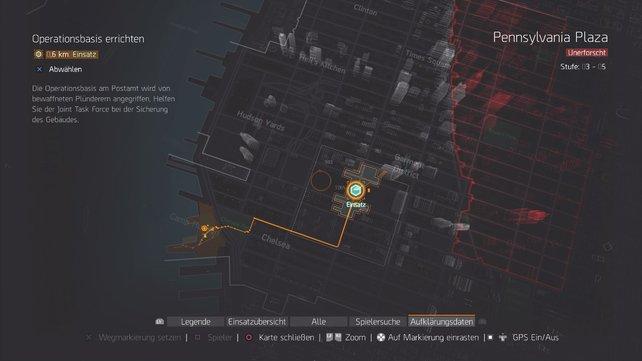 Der Karte entnehmt ihr euren jetzigen Standort und den Distrikt, in dem ihr euch gerade befindet.