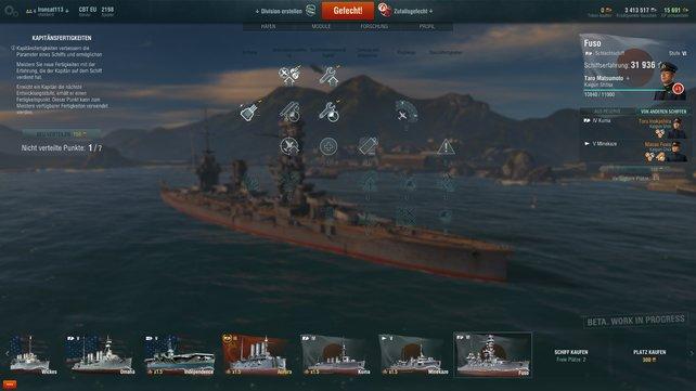 Taro Matsumoto befehligt dieses Schlachtschiff der Fuso-Klasse. Und da Matsumoto-San dies schon länger tut, hat er einige nützliche Fähigkeiten erworben.