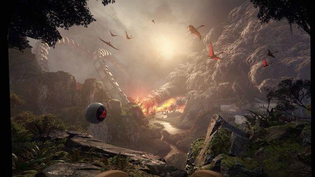 Das VR-Erlebnis verfrachtet euch auf einen prähistorischen Planeten.