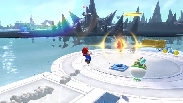 Sammelt Katzen-Insignien, um neue Inselbereiche freizuschalten. Bowser Jr. unterstützt euch dabei und kann im Multiplayer von einem zweiten Spieler gesteuert werden.