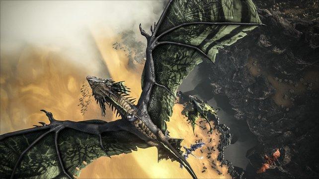 Hier seht ihr den gigantischen Gift-Drachen, wie er über die Schlucht fliegt, die über und über mit heißer Lava gefüllt ist. Wollt ihr diese Kreatur zähmen und züchten?