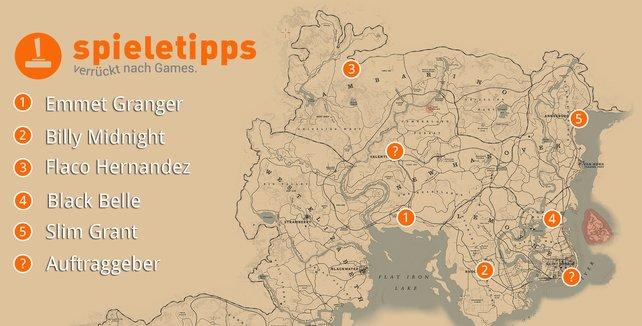 Die Karte zeigt euch alle Schauplätze der Mission.