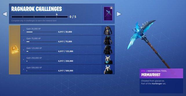 Ab Level 100 schalten sich weitere Herausforderungen für den Ragnarök-Skin frei.