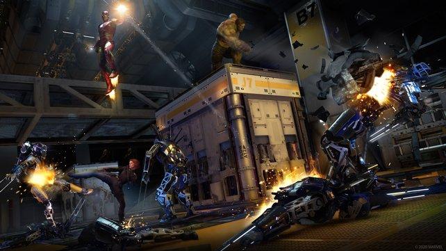 Neben einigen Story-Missionen, die nur im Singleplayer gespielt werden können, seid ihr zumeist im Koop mit den anderen Avengers unterwegs: Die werden von anderen Spielern oder von der KI gesteuert, je nachdem, für was ihr euch entscheidet.