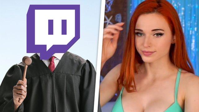 Twitch macht einer bekannten Hot-Tub-Streamerin das Leben schwer. (Bild: Twitch / Amouranth / Getty Images – BrianAJackson; LightFieldStudios)