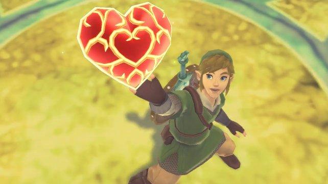 Vier Herzteile ergeben einen Herzcontainer in Zelda: Skyward Sword.